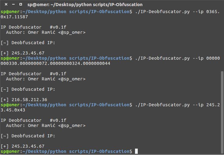 Deobfuskacija IP adrese - korištenje