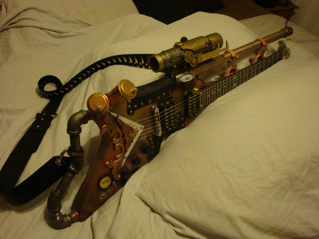 a guntar, a guitar with a hunting rifle on it