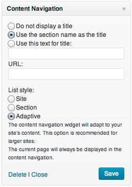 "The ""Content Navigation"" widget presents a configurable sidebar navigation list"