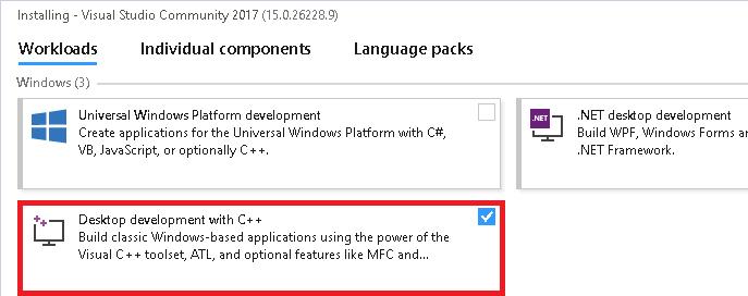 Visual Studio 2017 C++ Installation