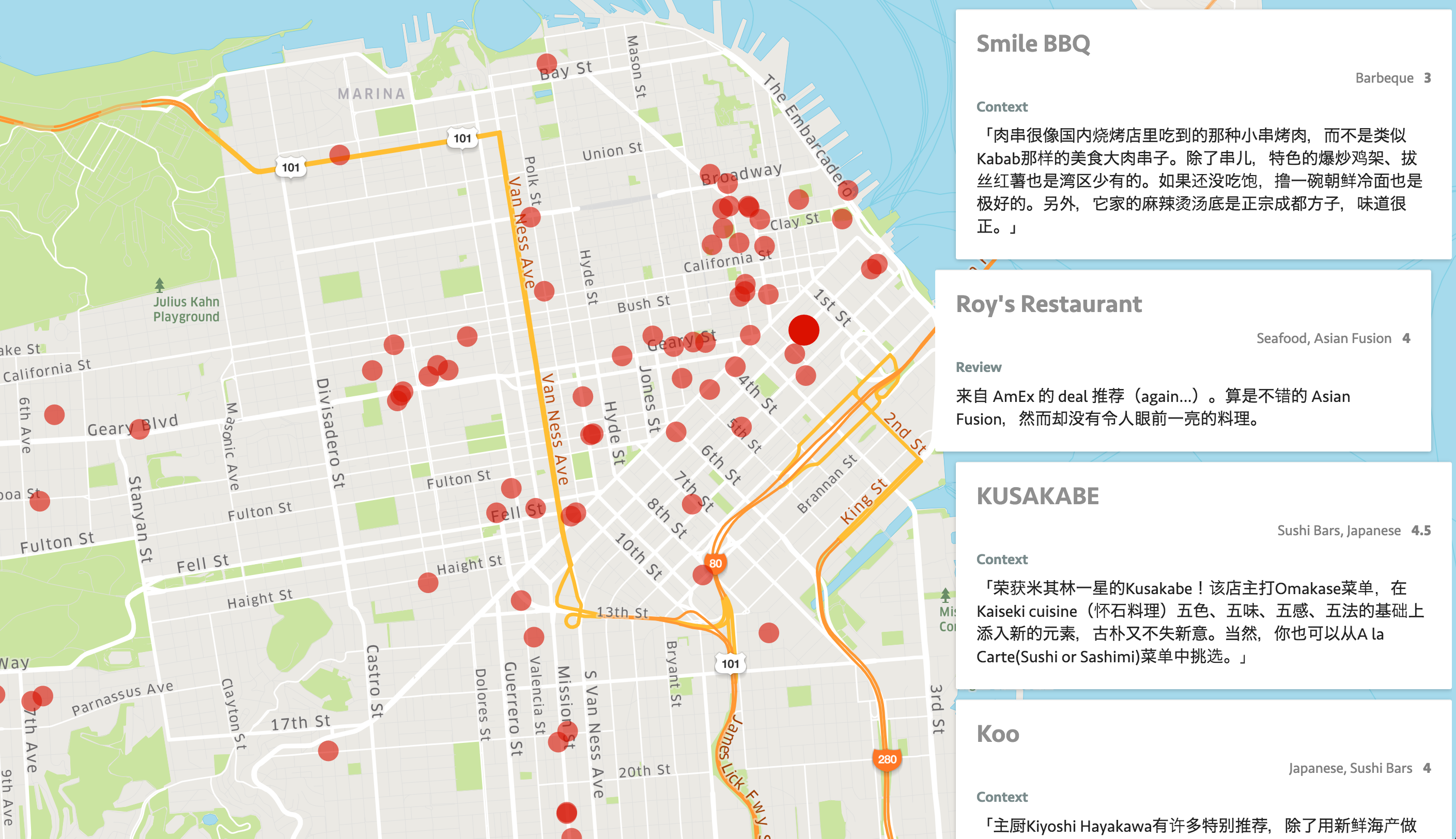 GitHub - junjiah/ybk-map: Show my yelp bookmarks. on
