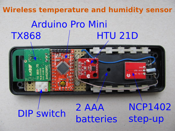 Wireless temperature and humidity sensor