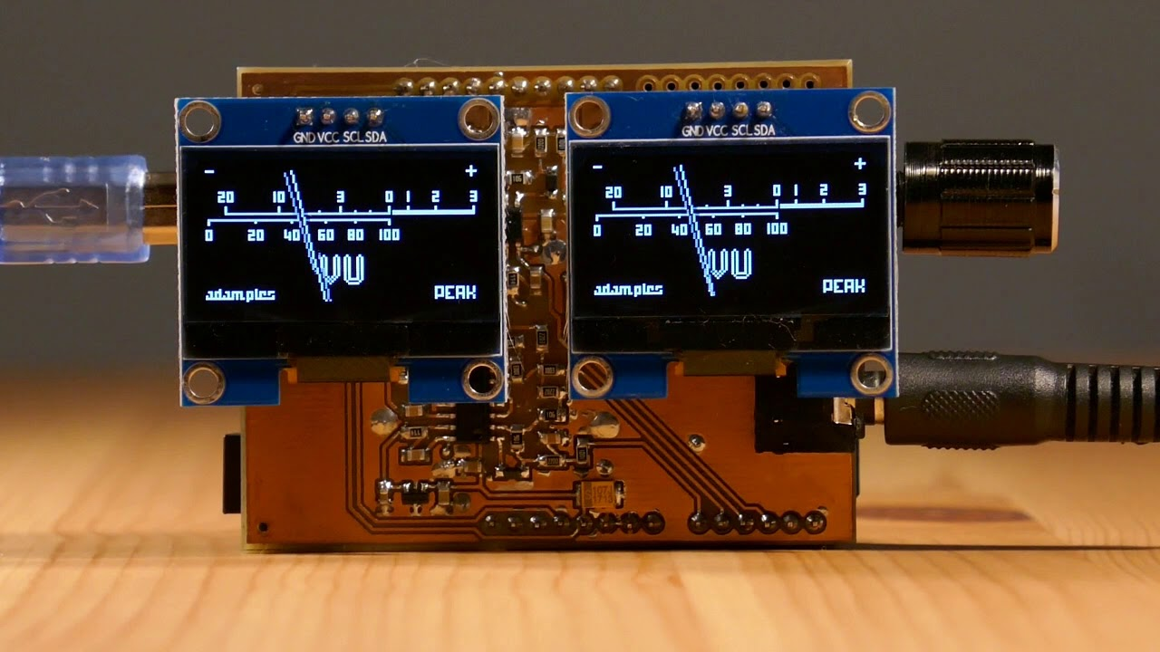 OLED display VU meter — AVR/Arduino project
