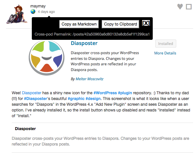 Screenshot of Cross-pod Links (for Diaspora) popup with copy to clipboard buttons.