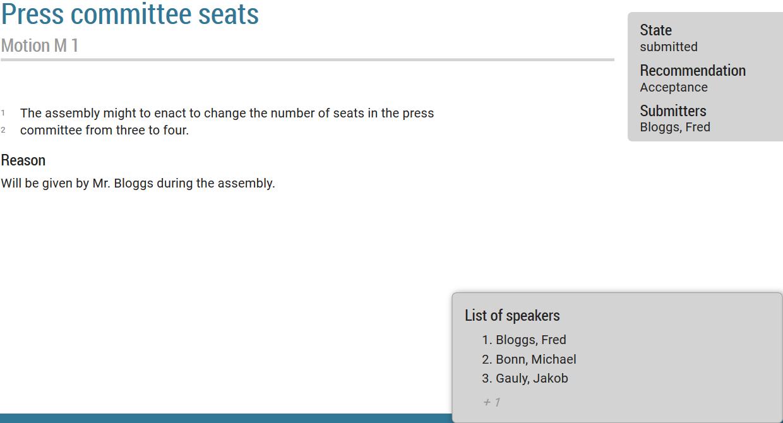 Speakers' list overlay