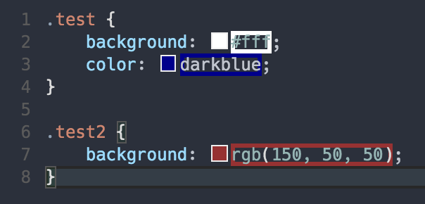 Highlight web colors in your editor screenshot