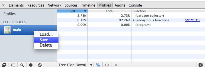 save Chrome CPU profile
