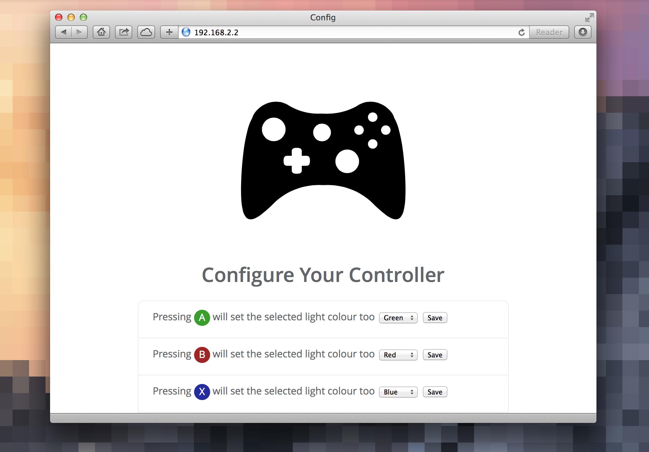 Configuration UI screenshot.
