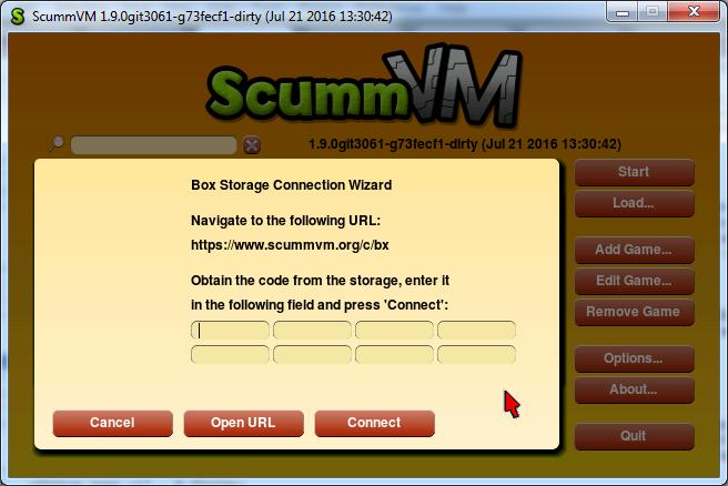 "Storage Connection Dialog: ""Open URL"" button, 8 fields"