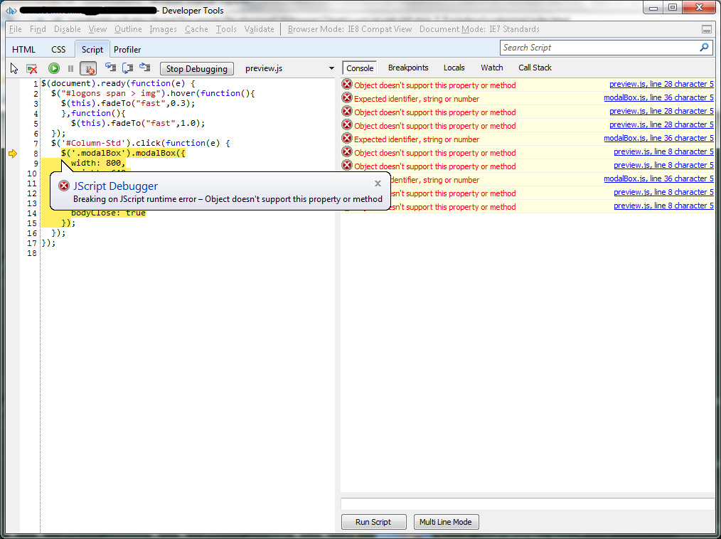 Javascript addclass not working in ie — pic 1