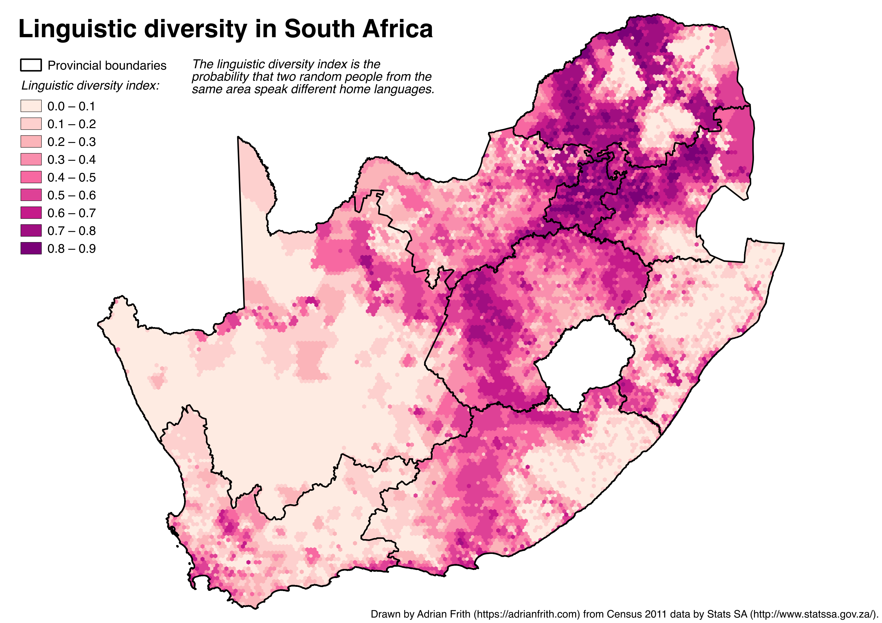 Linguistic diversity map of South Africa