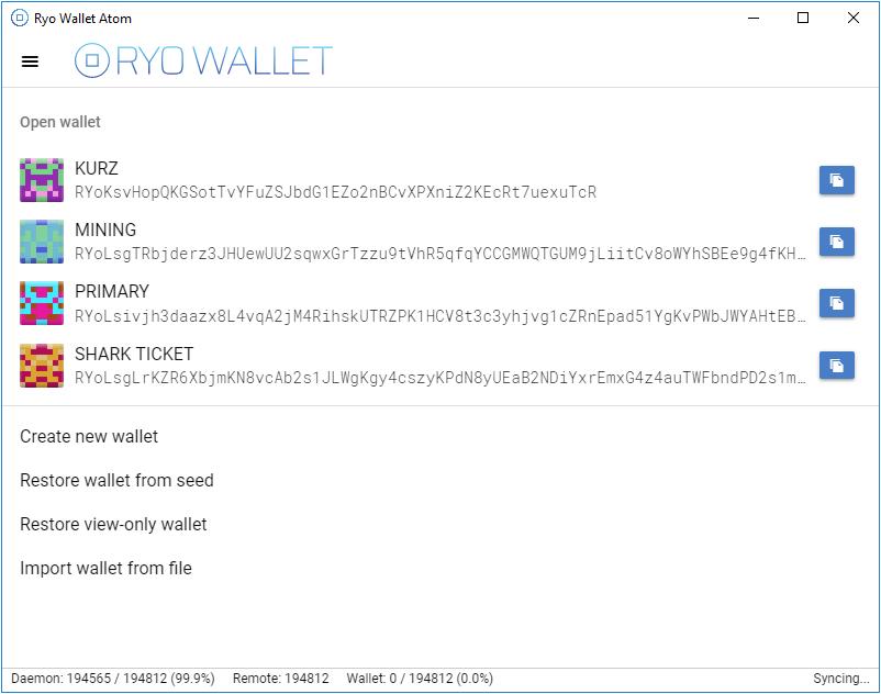 Ryo Wallet Screenshot