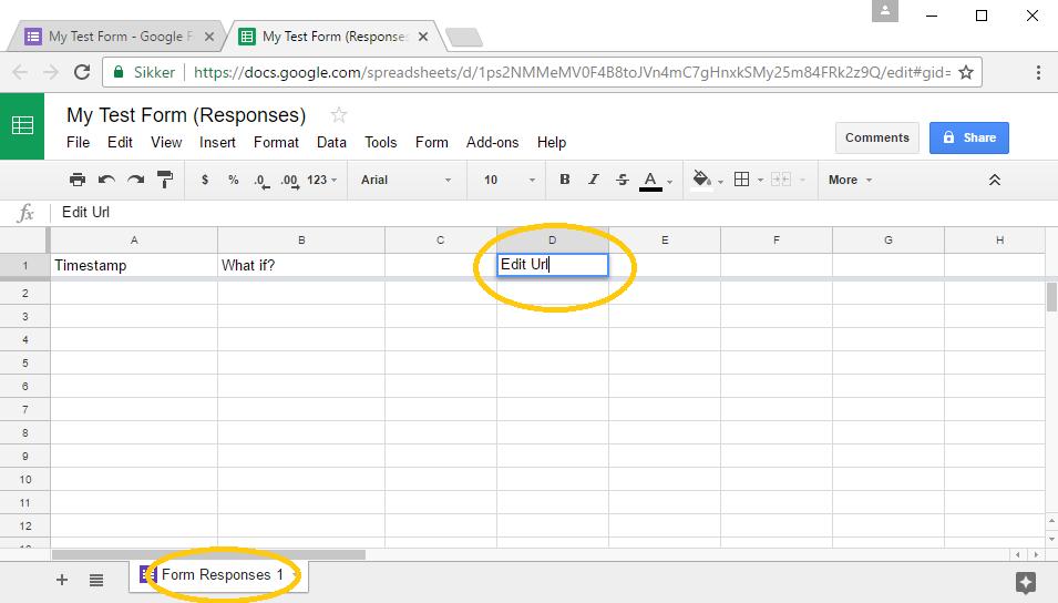 Responses spreadsheet