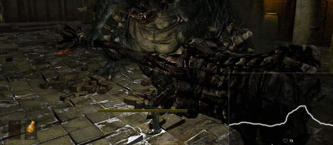 image of the heart rate overlay overtop of Dark Souls gameplay