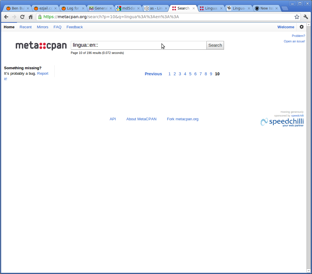 Screenshot of odd page 10 with no results