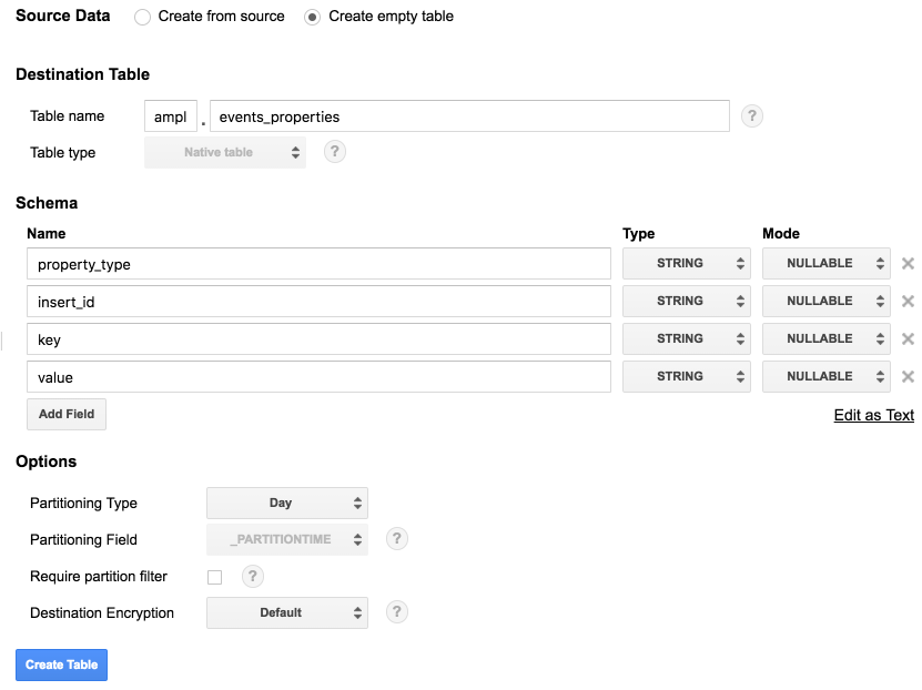 Create a new table in BigQuery
