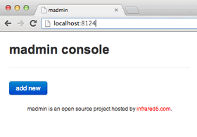 empty madmin console with no defined RESTful URIs