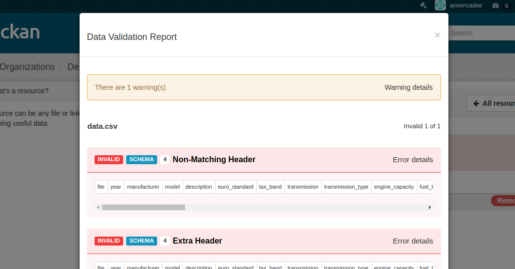 Modal window with report