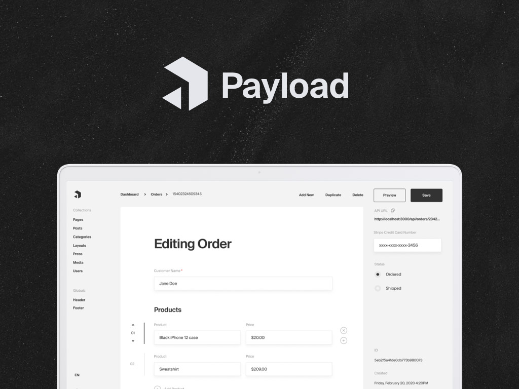 Payload headless CMS Admin panel built with React
