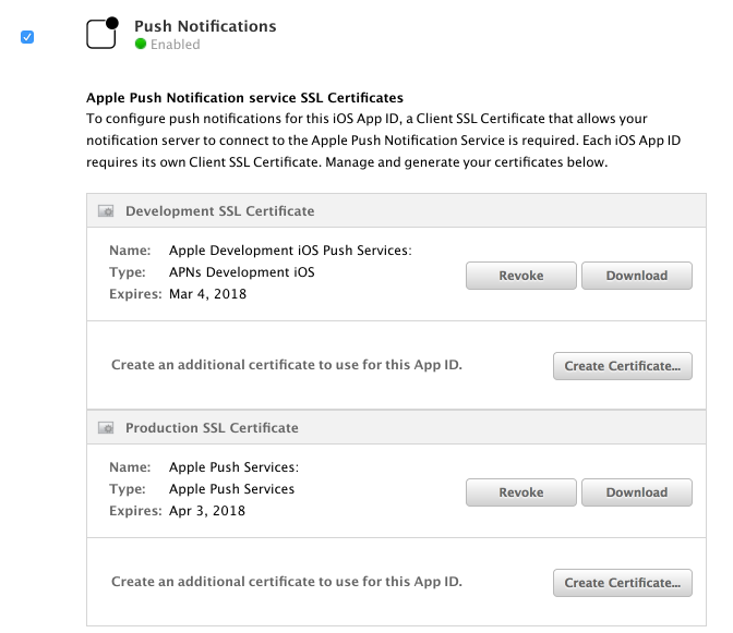Creating the Push Notification Certificate