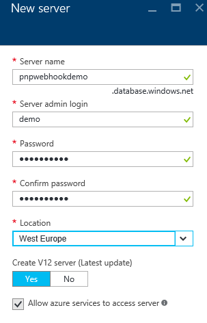 Create new SQL Azure server