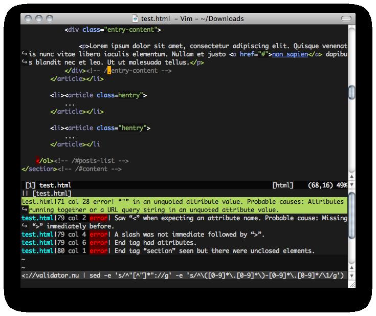vim-htmlvalidator