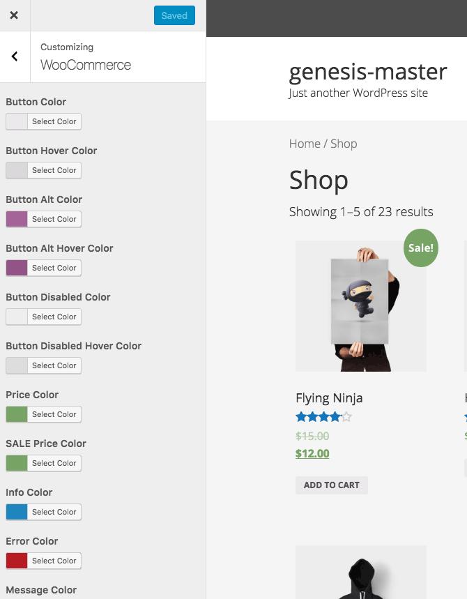Genesis Child WooCommerce Customizer