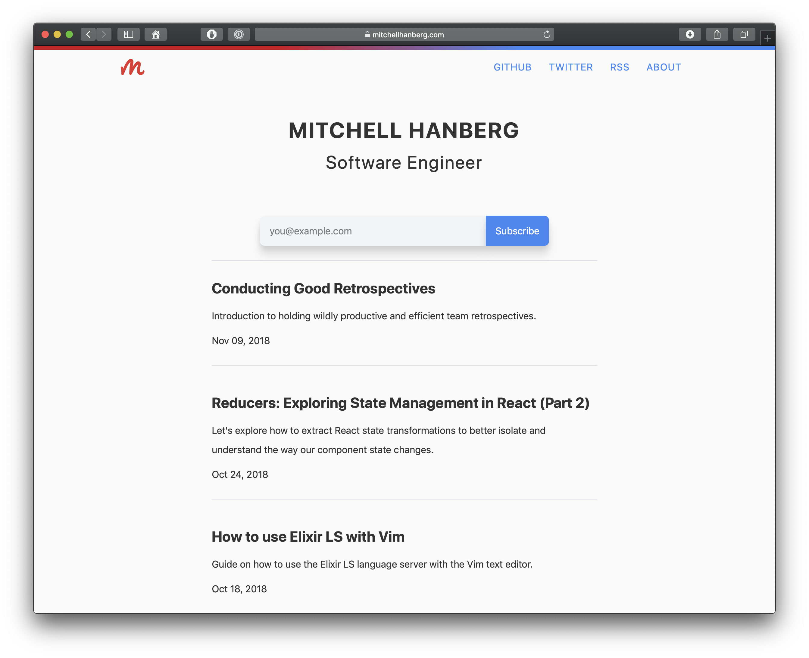 Screenshot of the homepage of mitchellhanberg.com