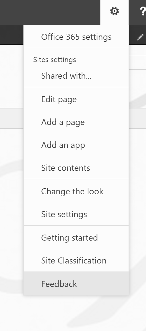 Site classification visible in site actions menu