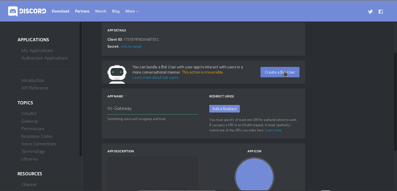 Creating a discord bot getting a token reactifluxdiscord irc screen you see after creating a new application then scrolling down a little ccuart Gallery