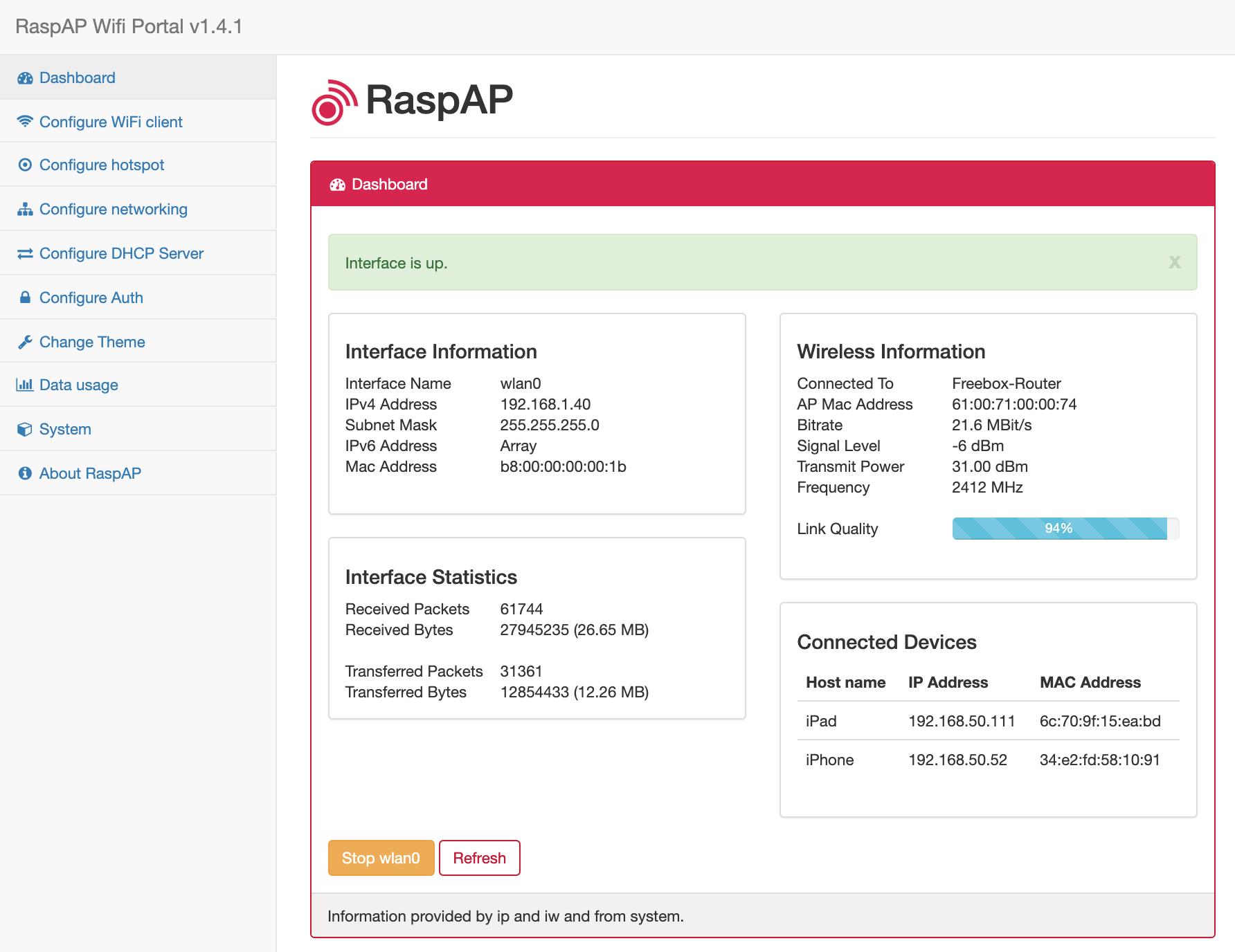 web interface hostapd