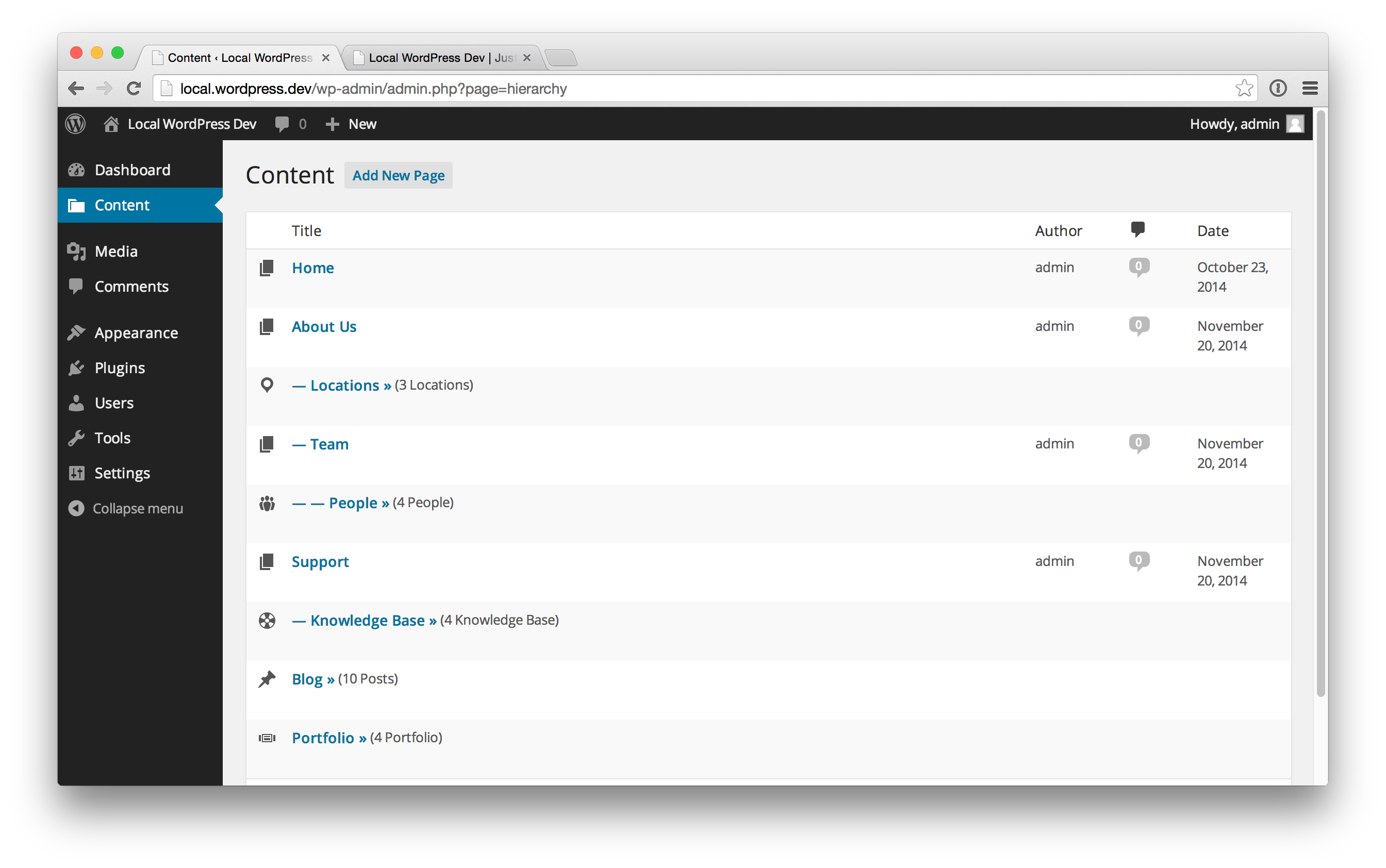 Hierarchy integrates CPT edit links within your Pages and hides them from the Admin Menu