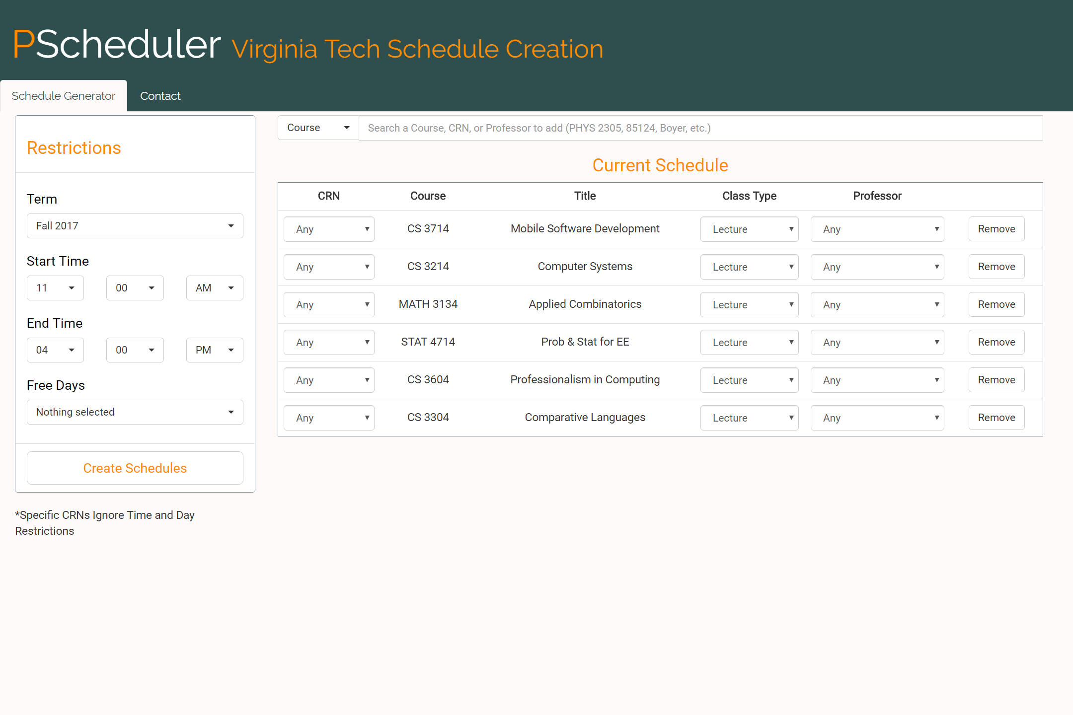 Image of schedule restrictions page