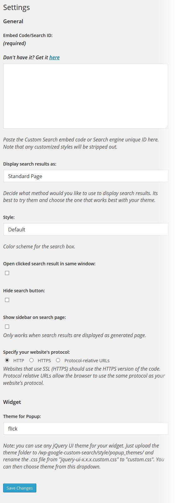 Custom Google Search Settings
