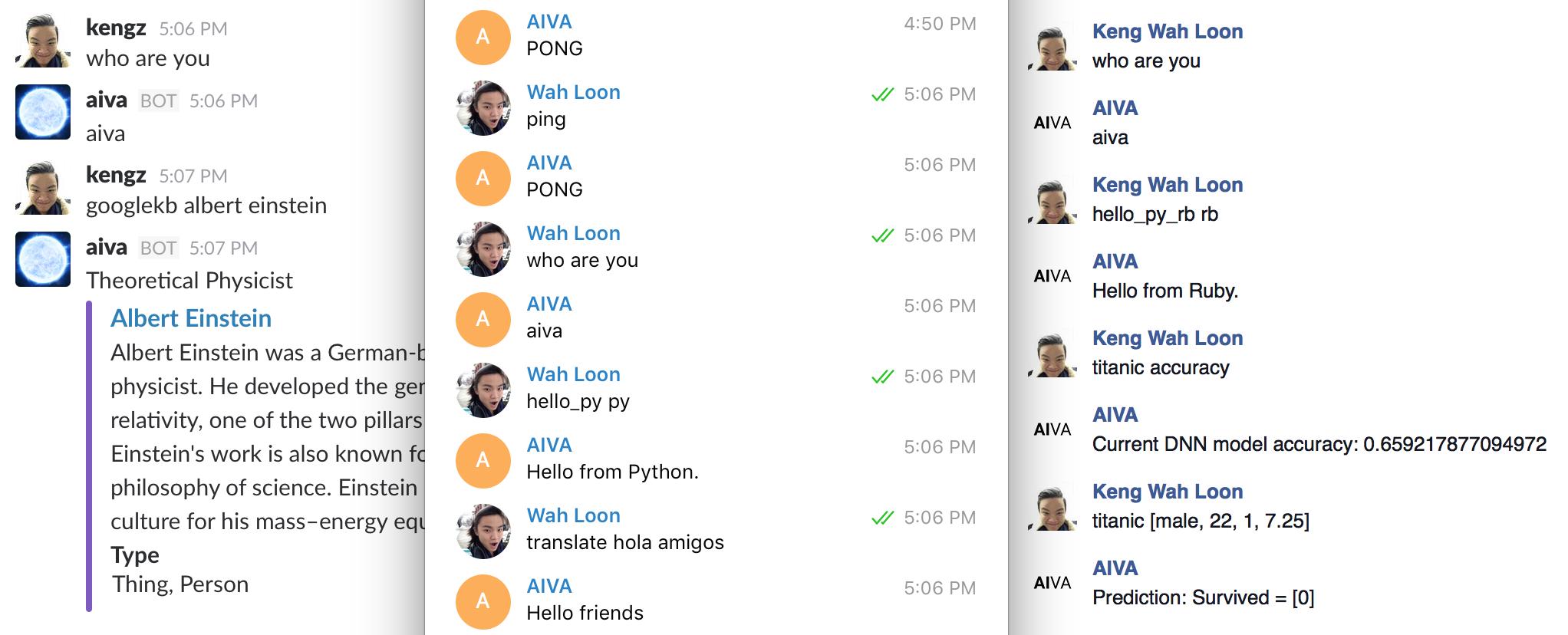 AIVA on Slack, Telegram