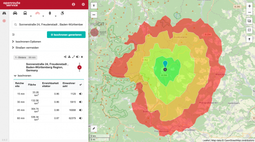 View of the classical maps client showing an 60 minute bicycle isochrone with four 15 minute intervals.