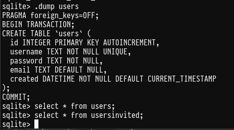 SQLite3 showing that there's no registered users