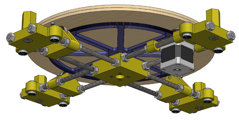 A wooden disk, under which resides a complicated set of motors gears rods and bearings