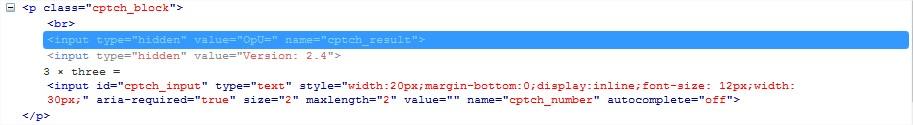 HTML hidden code