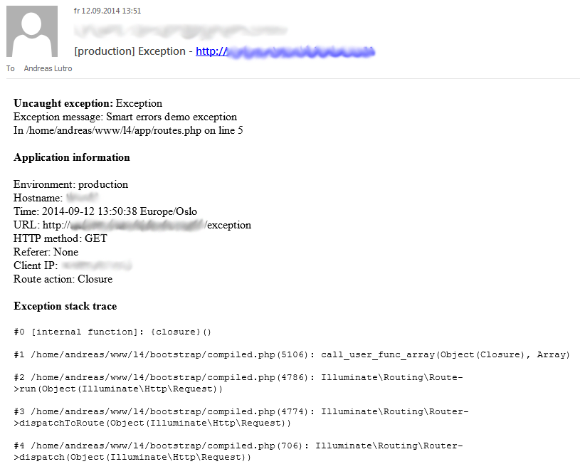 Example email
