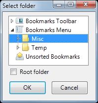 Select bookmarks folder