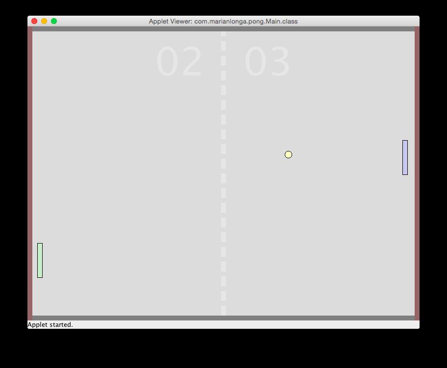 Screenshot of the Pong game