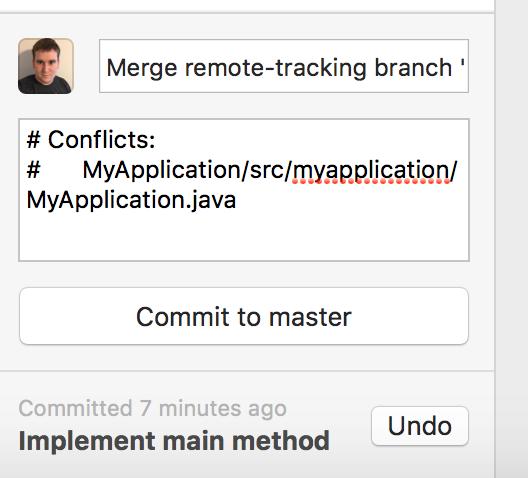 Merge conflict commit message GitHub Desktop