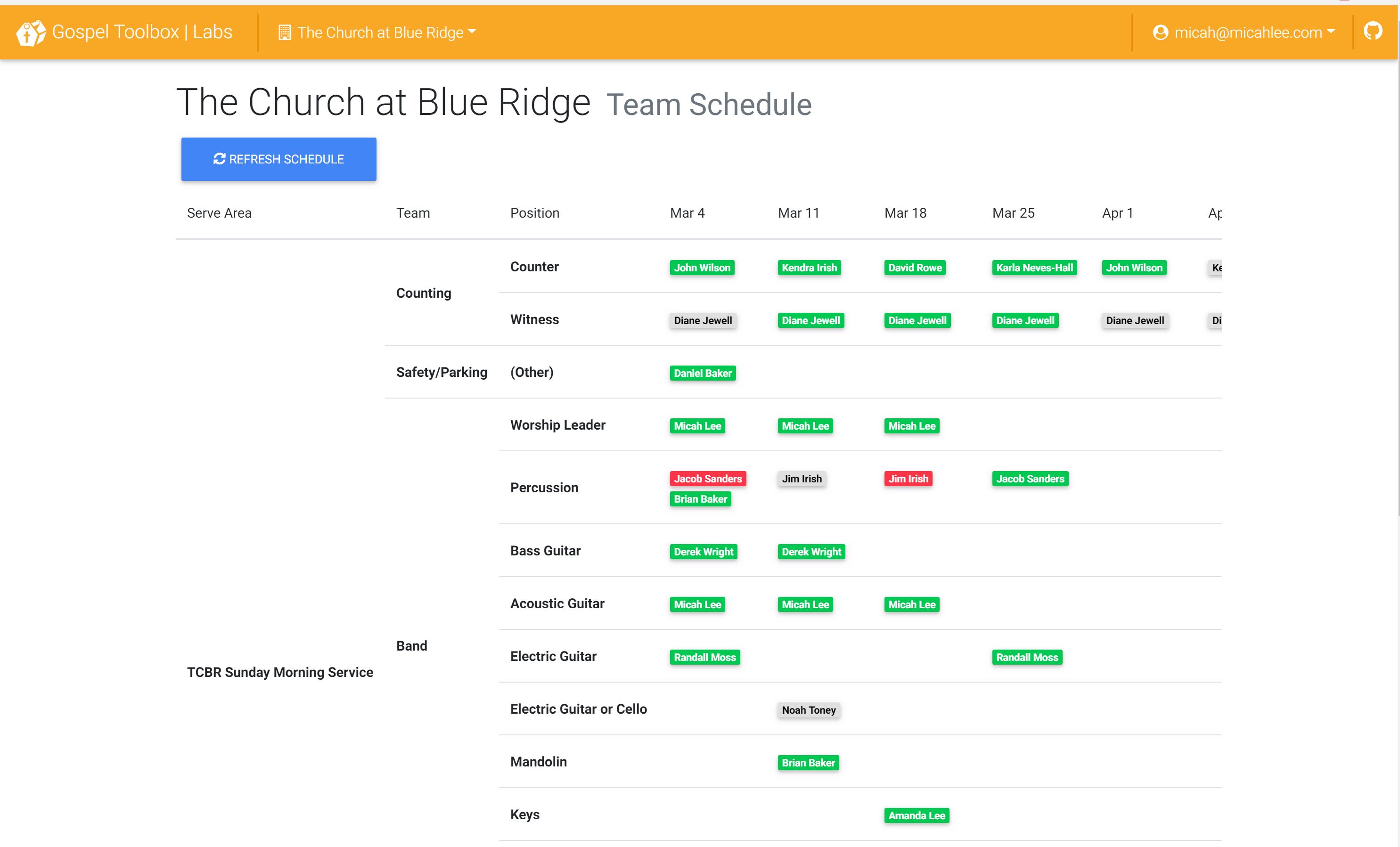 Screenshot of team schedule dashboard