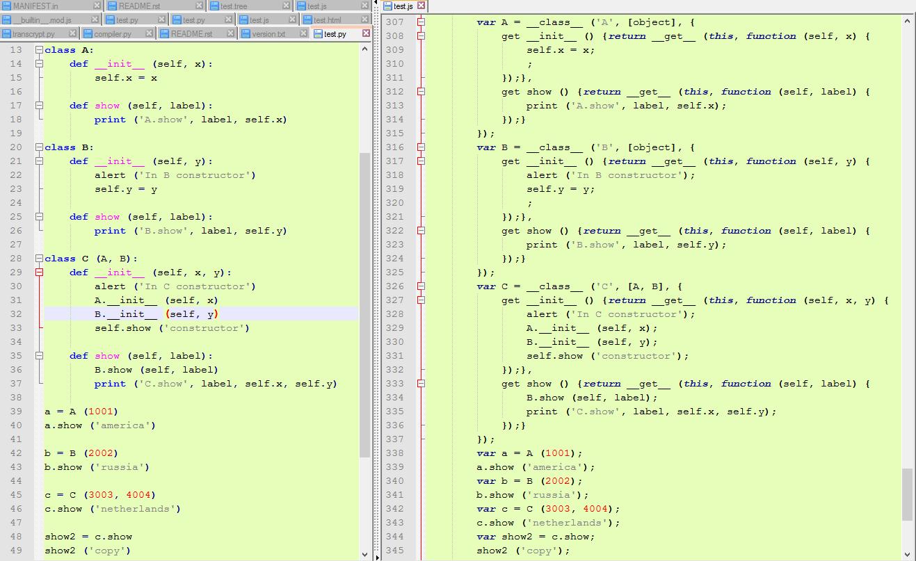 Screenshot of Python versus JavaScript code