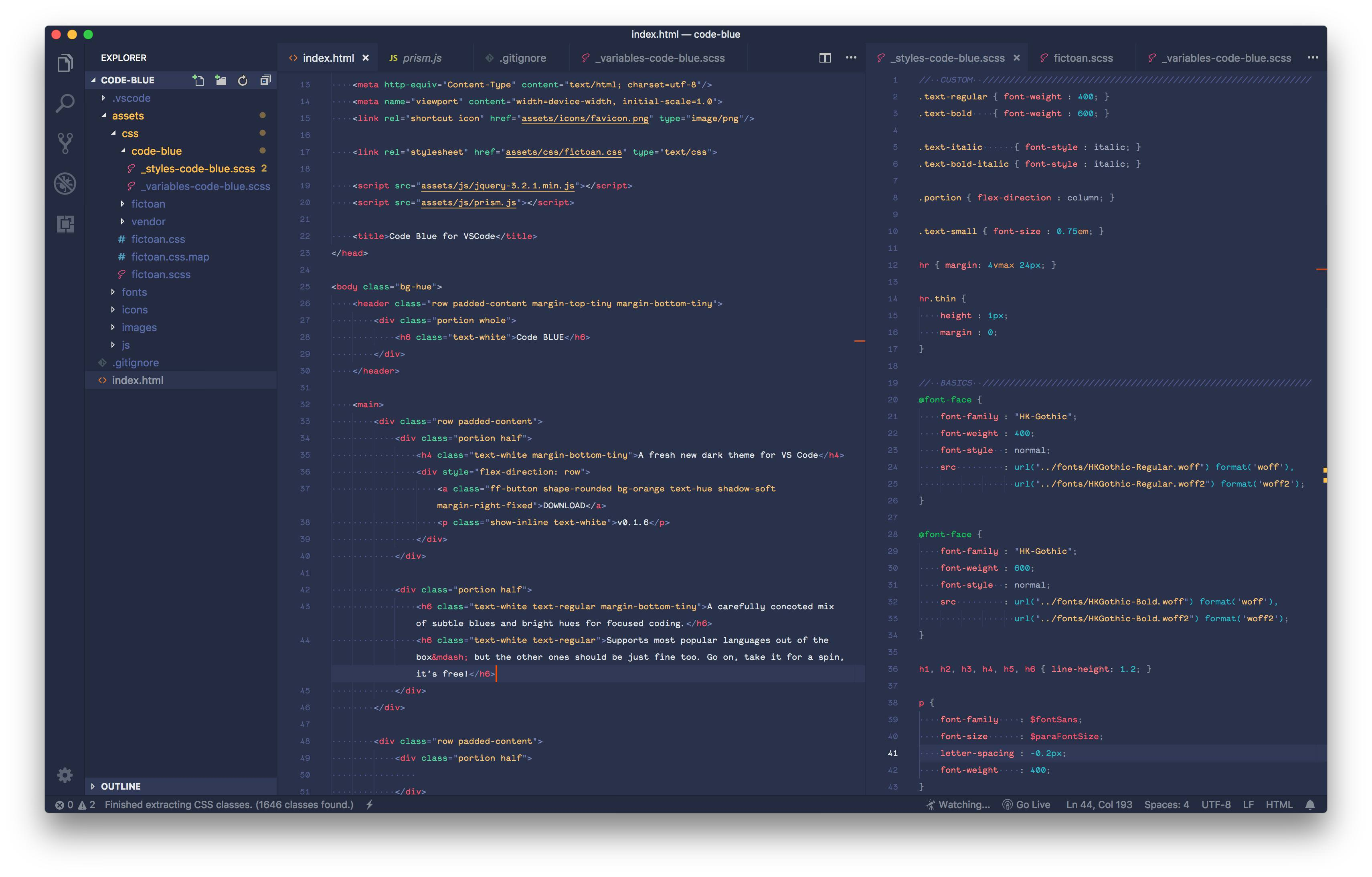 Code Blue — A carefully concocted dark theme for VS Code - DEV