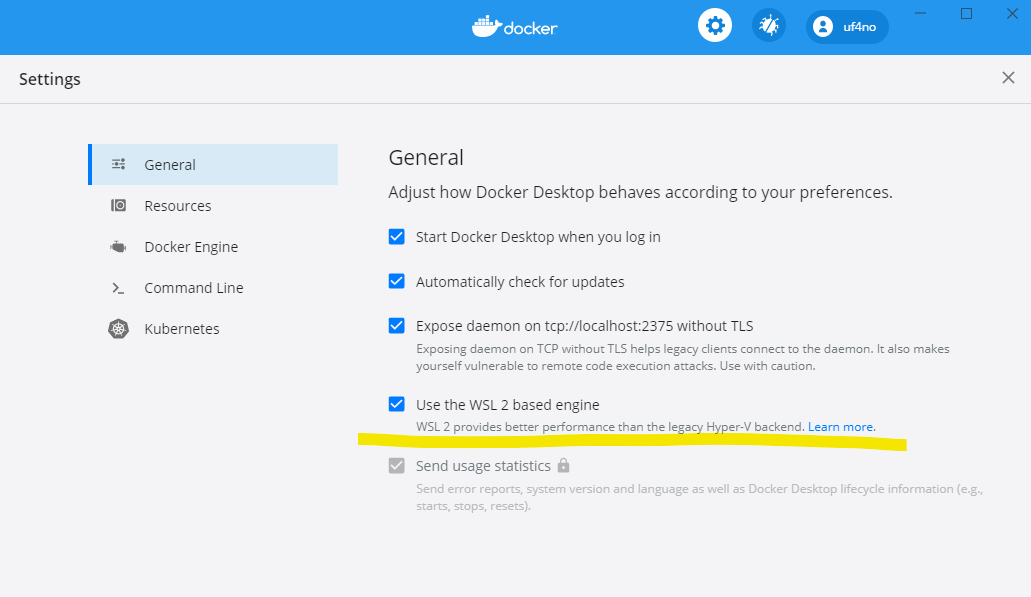 Docker desktop configuration