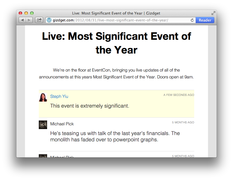 Screenshot of smart updates