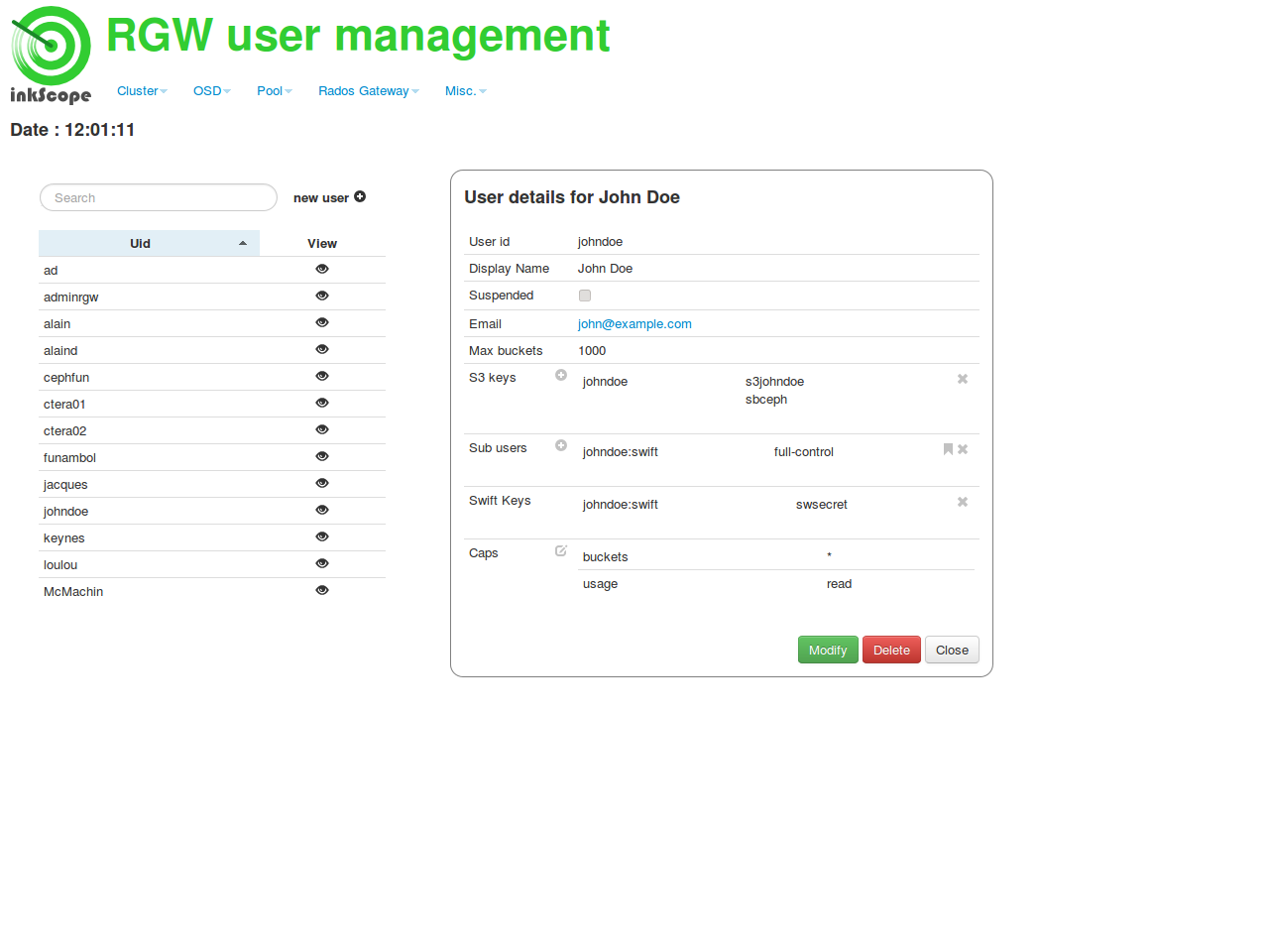 Object storage user management