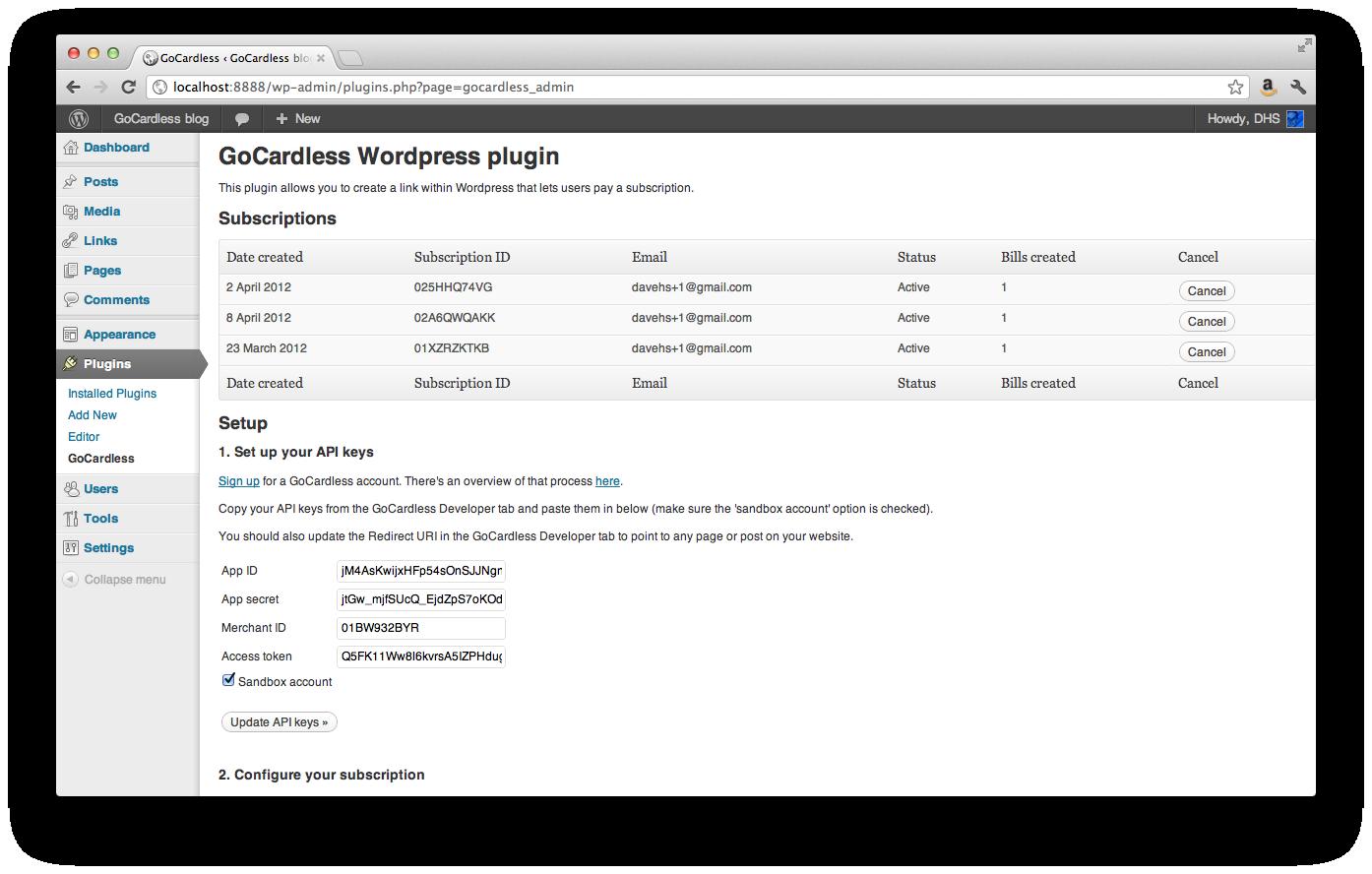 WP GoCardless screenshot